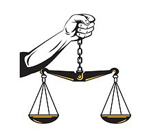 Hand Holding Scales of Justice  by patrimonio