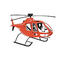 Helicopter Chopper Retro  Photographic Print