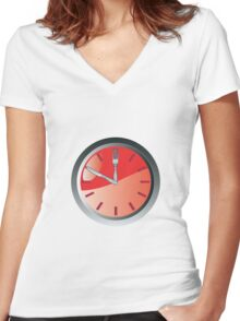 wall clock spoon and fork eating time  Women's Fitted V-Neck T-Shirt