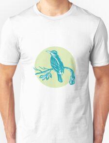 Kingfisher Perching On Branch Woodcut  T-Shirt