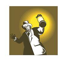 Man Wearing Top hat And Holding Lantern  by patrimonio