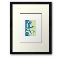 Owl on Branch Retro  Framed Print