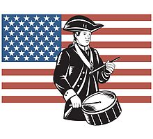 American Patriot Drummer Stars and Stripes Flag  by patrimonio