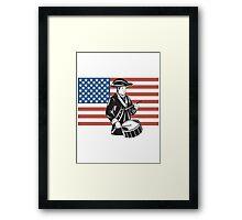 American Patriot Drummer Stars and Stripes Flag  Framed Print