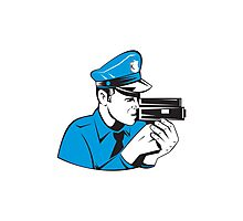 Policeman Police Officer Speed Camera  Photographic Print