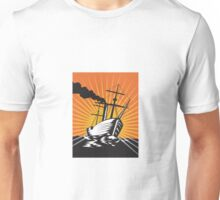 Sailing Ship Retro Woodcut  Unisex T-Shirt