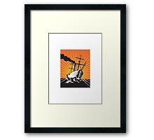 Sailing Ship Retro Woodcut  Framed Print