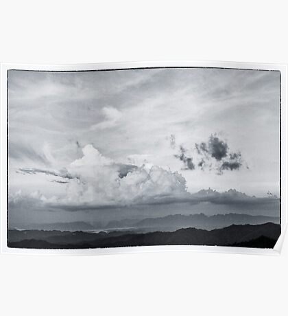 beautiful cloud on the top of mountain Poster