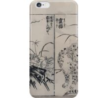 Cat with black markings on its fur and a fragrant rose mallow 001 iPhone Case/Skin
