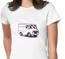 white ice cream truck funny tee  Womens Fitted T-Shirt