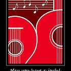 Joyful Song, Graphic Guitar & Music Notes Holiday Card  by NestToNest