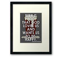 Ben Franklin on Beer Framed Print