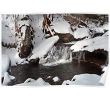 Snow Covered Unsung Glen Leigh Waterfall Poster