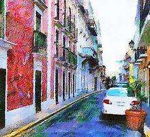 Old San Juan Street by Charlie Roman