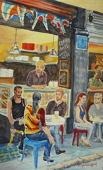 The band has coffee by Virginia  Coghill