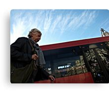 Another City Reflection from a Bus Stop Bench Canvas Print