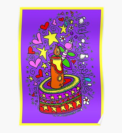 Birthday Blessings (on purple) Poster