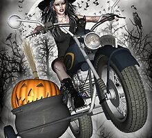 Biker Witch 'Late for the Covent' by magicalartz