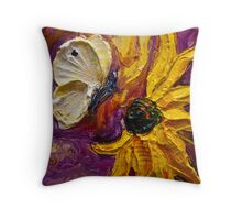Cabbage White Butterfly & Flower Throw Pillow