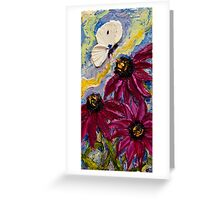 White Butterfly & Purple Cone Flowers Greeting Card