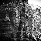 Cambodia Noir - Temple Face 2 by Tyson Battersby