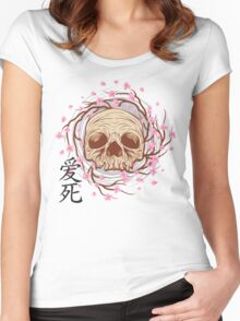 CHERRY BLOSSOM SKULL Women's Fitted Scoop T-Shirt