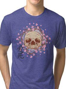 CHERRY BLOSSOM SKULL Tri-blend T-Shirt