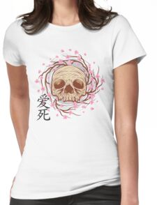 CHERRY BLOSSOM SKULL Womens Fitted T-Shirt