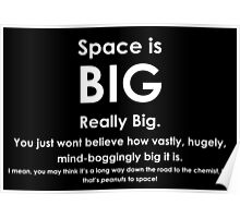 Space is BIG - Hitchhikers Guide to the Galaxy - dark background Poster