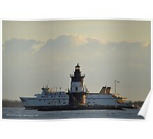 Ferry Passing Lighthouse | Orient Point, New York Poster