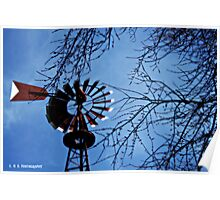 Red Windmill Poster