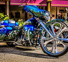 Custom build blue Harley Motorcycle by Chris L Smith