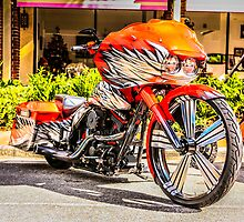 Custom build red Harley hog motorcycle by Chris L Smith
