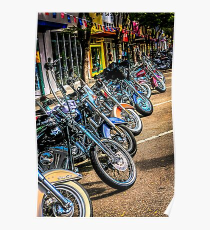 Line up of Harley hogs Poster