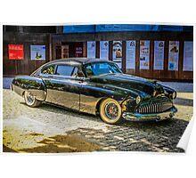 Black 1950s Custom American Car Poster