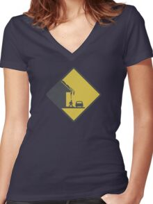Falling Snow Women's Fitted V-Neck T-Shirt