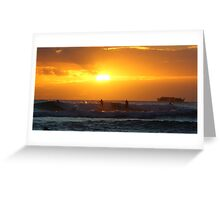 Surfers on sunset Greeting Card