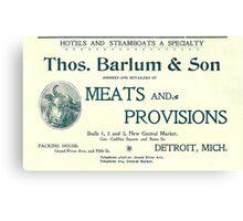 Barlum & Son Provisions Supplier Ad 1880 Detroit Canvas Print