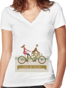 Me & You Bike Women's Fitted V-Neck T-Shirt