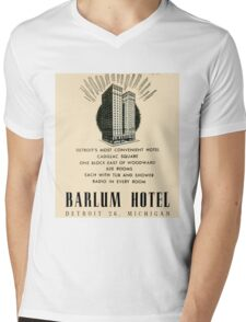 Barlum Hotel in Detroit Vintage Ad Mens V-Neck T-Shirt