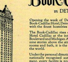 Vintage Detroit Ad for the Book Cadillac Hotel in 1926 Sticker