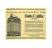 Vintage Detroit Ad for the Book Cadillac Hotel in 1926 Art Print