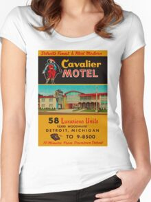 Vintage Cavalier Motel Detroit Ad Women's Fitted Scoop T-Shirt