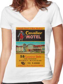 Vintage Cavalier Motel Detroit Ad Women's Fitted V-Neck T-Shirt