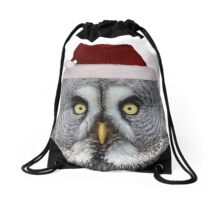 Christmas Great Grey Owl Drawstring Bag