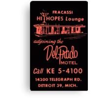 Vintage Detroit Del Prado Motel Ad Canvas Print