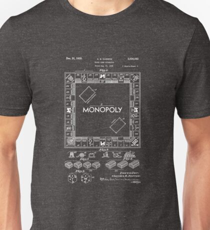 Patent Of Monopoly Game In White Version Unisex T-Shirt