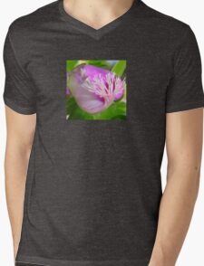 Pink Polygala Myrtifolia in Macro with Green Background  Mens V-Neck T-Shirt