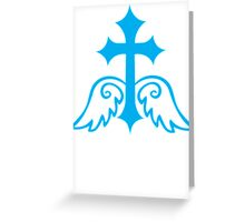 Blue gothic gross with wings Greeting Card