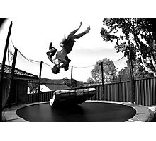 Trampolining in Black and White Photographic Print